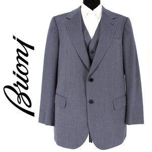 Brioni Mens Vest & Blazer Suit 2 Piece Navy Stripe